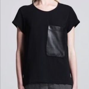 Rag & Bone Black Top With Oversized Leather Pocket